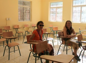 Here is Charlene and I in one of the finished classrooms in the Technical School